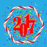 Colorful Confetti Christmas Background. 20167 New Year Pattern in Sweet Candy Cane Frame Royalty Free Stock Images