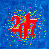 Colorful Confetti Christmas Banner. 2017 New Year Poster on Blue Polygonal Crystal Winter Background Stock Photos