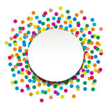 Colorful confetti. With circle banner on white background Royalty Free Stock Photos