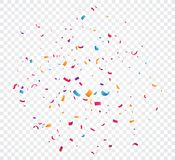 Colorful confetti explosion, isolated on transparent background vector illustration