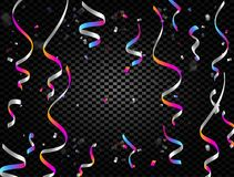 Colorful confetti falling and ribbons on black transparent background vector illustration. Party, festival, fiesta. Design decor poster element Stock Images