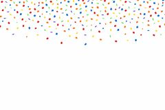 Colorful confetti. Festive background with red, golden and blue confetti. Falling confetti isolated on white background. Vector Stock Photo