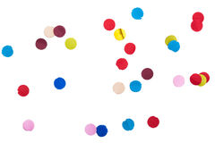 Colorful Confetti in front on isolated White royalty free stock photo