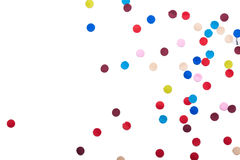 Colorful Confetti in front of White Background stock images