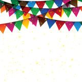 Colorful confetti garland or bunting - vector graphic. This graphic represents decoration for celebration & fun, birthdays & parties, festivities, etc Stock Image