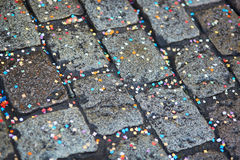 Colorful confetti on the ground Stock Photos