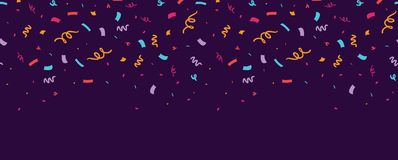 Colorful confetti horizontal seamless border. Great for a birthday party or an event celebration invitation or decor. Surface pattern design Stock Image