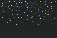Colorful confetti isolated on black background. Abstract background with many falling tiny confetti pieces. vector background Royalty Free Stock Photography