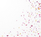 Colorful confetti , isolated on transparent background. Illustration of Colorful confetti banner , isolated on transparent background Royalty Free Stock Photos