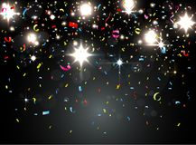 Colorful confetti with light on night background royalty free illustration