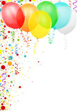 Colorful Confetti and Party Balloons. Colored Illustration, Vector Royalty Free Stock Photos