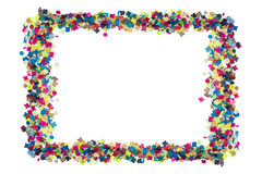 Colorful confetti in rectangular frame Royalty Free Stock Photos
