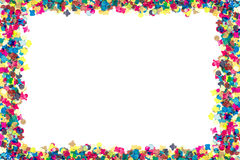 Colorful confetti in rectangular frame Stock Images