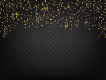 Confetti And Ribbons on dark transparent background. Vector. Colorful Confetti And Ribbons isolated on dark transparent background, Party celebration. Vector Royalty Free Stock Image
