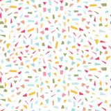 Colorful confetti seamless pattern. Festival seamless pattern with colorful confetti on white background. Vector illustration Royalty Free Stock Photos