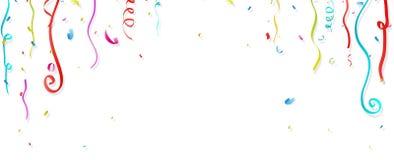 Colorful confetti and streamer on white background. Illustration of Colorful confetti and streamer on white background Royalty Free Stock Photography