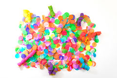 Colorful confetti and streamers with white background as template for celebration and party stock image