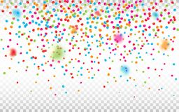 Colorful confetti on transparent background. Defocused confetti pieces. Bright holiday backdrop. Vector vector illustration