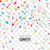 Colorful Confetti on Transparent square Background. Christmas, Birthday, Anniversary Party Concept. Vector Illustration stock illustration