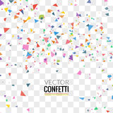Colorful Confetti on Transparent square Background. Christmas, Birthday, Anniversary Party Concept. Vector Illustration royalty free illustration