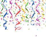 Colorful confetti and twirled party streamers Stock Images
