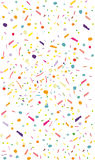 Colorful confetti vector background. Vertical, rectangular. Pattern with small particles, grains like chocolate chips pastry Bright backdrop on white Stock Photo