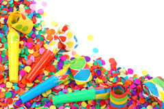 Colorful confetti and whistle Stock Image