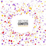Colorful Confetti on White background. Christmas, Birthday, Anniversary Party Concept. Vector Illustration. stock illustration