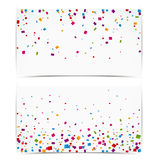 Colorful confetti on white banner Stock Images