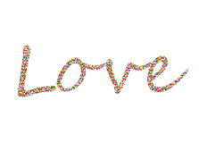 Colorful confetti in the word love. Lined of letters. Greeting card. For Valentine`s Day. Vector Stock Photo