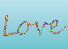 Colorful confetti in the word love. Lined of letters. Greeting card. For Valentine`s Day. Vector Stock Image
