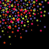 Colorful confettis. Square black background with colorful confettis Stock Photography