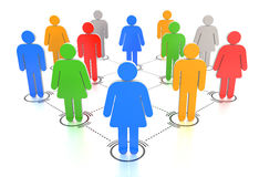 Colorful connected people Royalty Free Stock Image