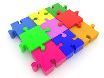Colorful connected puzzle pieces.3d illustration. In backgrounds Stock Photography