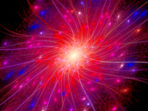 Colorful connections in space with particles Stock Photos