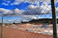 Colorful construction aggregate mountains in Alicante, Spain.  royalty free stock photos