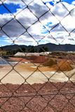 Colorful construction aggregate mountains in Alicante, Spain.  royalty free stock image