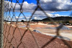 Colorful construction aggregate mountains in Alicante, Spain.  royalty free stock photo