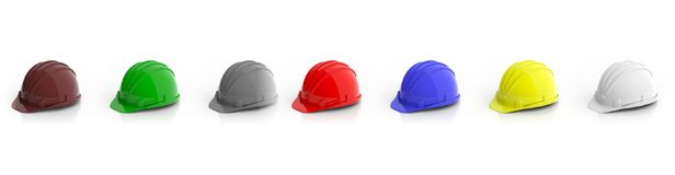 Colorful construction helmets on white background. 3d illustration. Colorful hard hats on white background. 3d illustration Royalty Free Stock Images