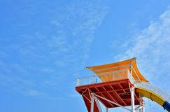 Colorful construction under blue sky. Shown as beautiful color and featured shape or composition Royalty Free Stock Photography