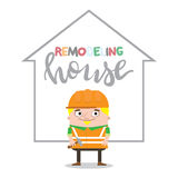 Colorful construction worker in helmets for different house remodeling and building works at construction site. Royalty Free Stock Photos