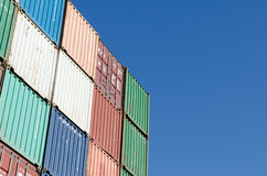 Colorful container. Colorful stacked container with blue sky stock photography