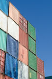 Colorful container. Colorful stacked container with blue sky stock photos
