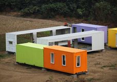 Colorful Container Houses Are Assembled Stock Image