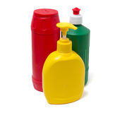 Colorful containers for detergents Stock Photography