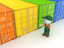 Colorful containers. Colorful containers, isolated on white background 3d rendered illustration Stock Images