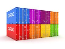 Colorful containers. Colorful containers, isolated on white background 3d rendered illustration Royalty Free Stock Photo
