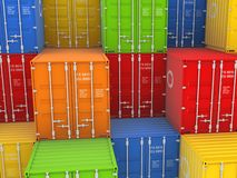 Colorful containers. Colorful containers, isolated on white background 3d rendered illustration Stock Image