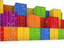 Colorful containers. Colorful containers, isolated on white background 3d rendered illustration Stock Photo