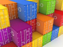 Colorful containers. Set of colorful containers. 3d rendered illustration Royalty Free Stock Photo